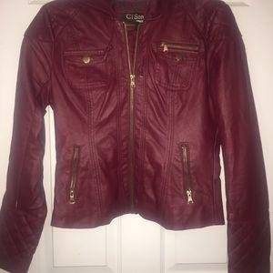 Maroon Faux Leather Jacket